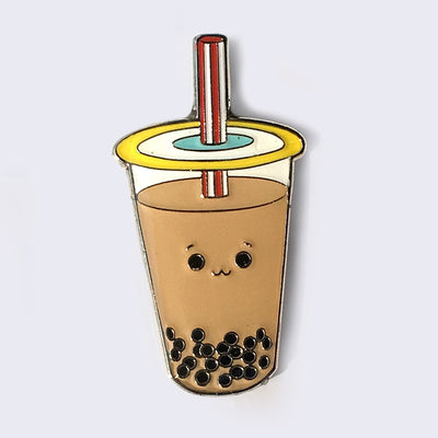 Giant Robot - Boba Bubble Tea Enamel Pin (Milk Tea)