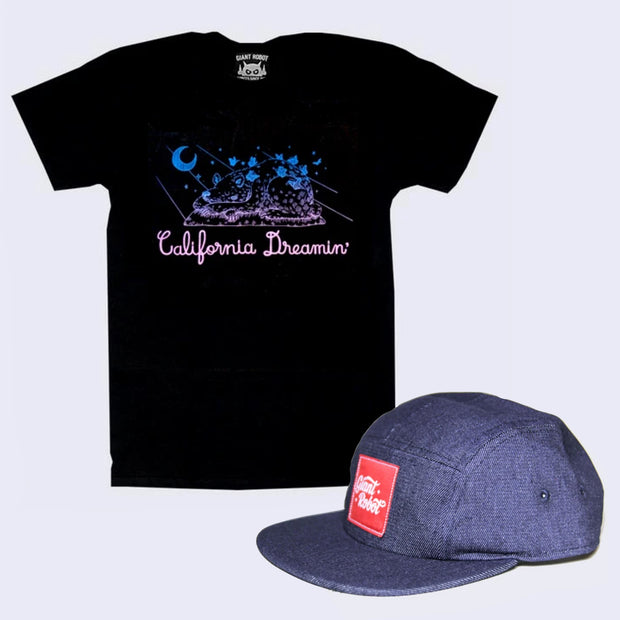 Bad Hair Day Shirt and Cap Pack - Yoskay Yamamoto x GR - California Dreamin' T-shirt + 5-Panel Hat (Navy)