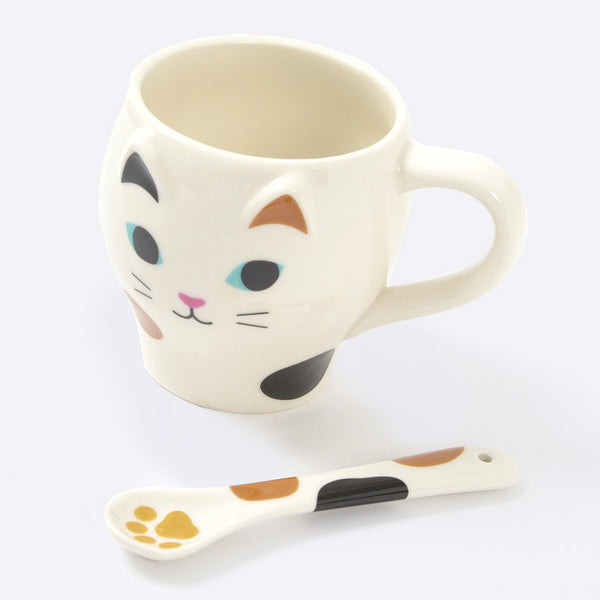 Nyao Cat Mug with Paw Spoon (Assorted)