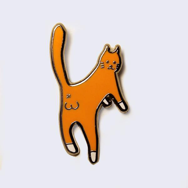 Giant Robot - Cat Balls Enamel Pin (Orange)