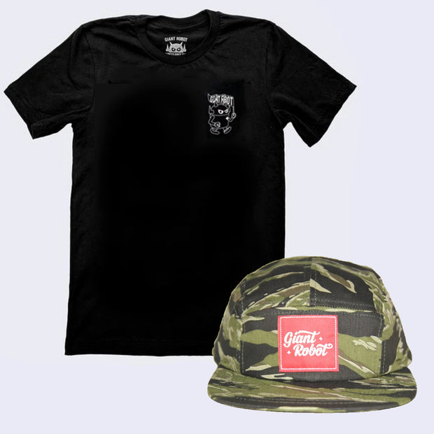 Bad Hair Day Shirt and Cap Pack - Big Boss w/ Flag T-Shirt + 5-Panel Hat (Camouflage)