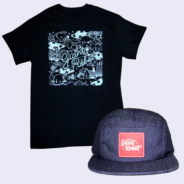 Bad Hair Day Shirt and Cap Pack - Yoskay Yamamoto x GR - Happy Habitat T-shirt + 5-Panel Hat (Navy)