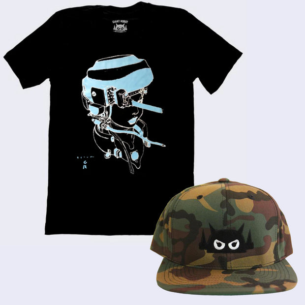 Bad Hair Day Shirt and Cap Pack - Terada X GR - Hot Pot Girl T-shirt (Glow-in-the-dark) + Big Boss Robot Hat (Camouflage)