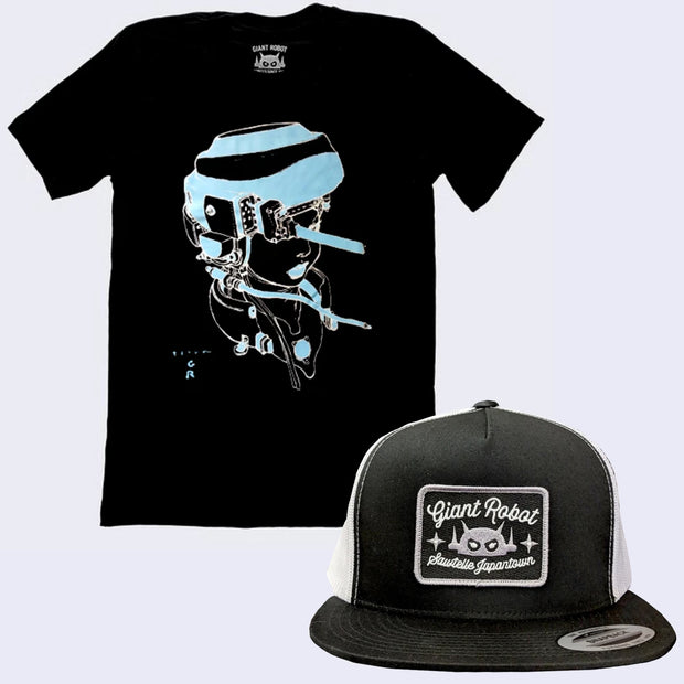 Bad Hair Day Shirt and Cap Pack - Terada X GR - Hot Pot Girl T-shirt (Glow-in-the-dark) + Mesh Rectangle Patch Hat