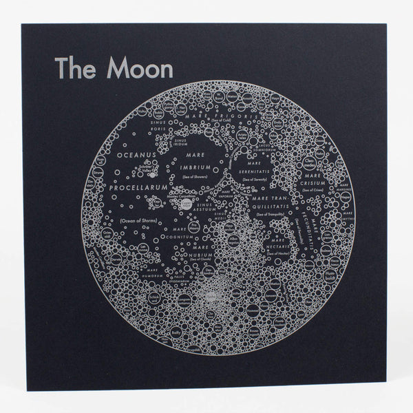 Archie's Press - Circle Map of the Moon Letterpress Print (Black)