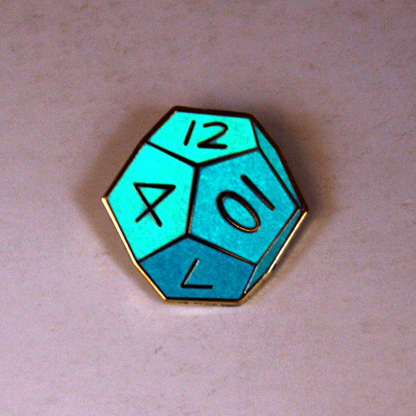 Giant Robot - 12 Sided Die Enamel Pin (D12: Glow-in-the-Dark)