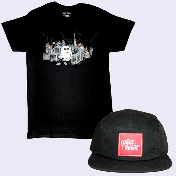 Bad Hair Day Shirt and Cap Pack - GR Robot City T-shirt + 5-Panel Hat (Black)