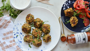Baked Zucchini Fritters with Yogurt Sauce