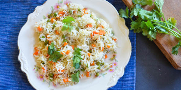 Bhopali Pilaf with Black Cumin, Peas and Carrots