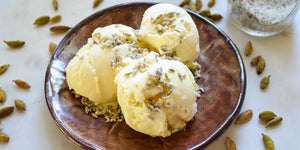 Yellow Cardamom Ice Cream with Candied Fennel Seeds