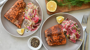 Sweet-Spicy Salmon with Furikake Fennel Slaw