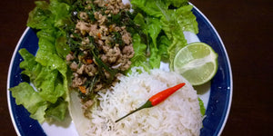 Thai Basil Chicken Lettuce Wraps with Holy Basil