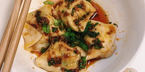 Chicken Cilantro Wontons with Red Chili Oil
