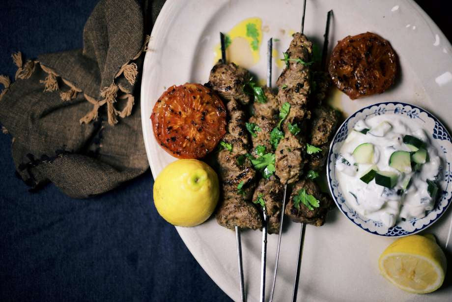 Spiced Lamb Kebabs and Cucumber Raita