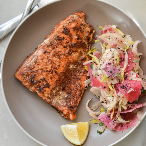 Sweet Spicy Salmon with Furikake Fennel Slaw