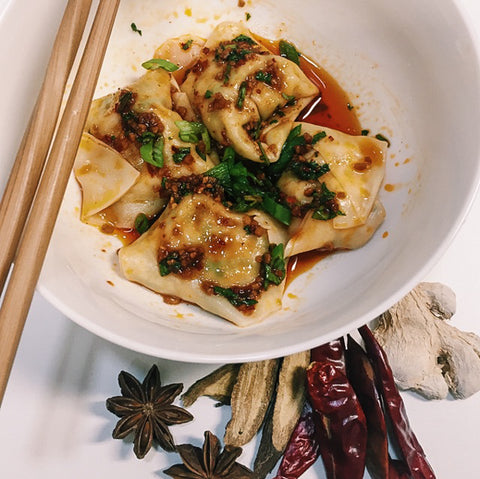 Chicken Cilantro Wontons with Szechuan Red Chili Oil
