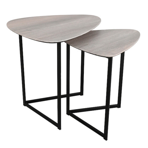 001MIB001 Mibello Nest Of 2 Side Tables Silvered Oak