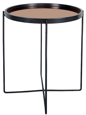 FUS0200 Samuel Side Table With Rose Gold Mirrored Top and Black Legs