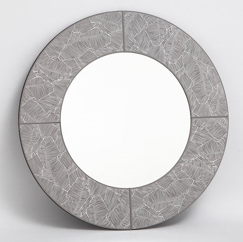 FUS0219 Round Grey With Silver Leaf Mirror 80CM