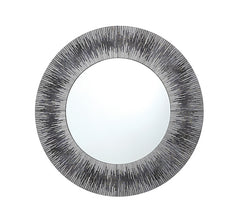 002NEO80 Neome Round Mirror With Silver/Grey Frame 80CM