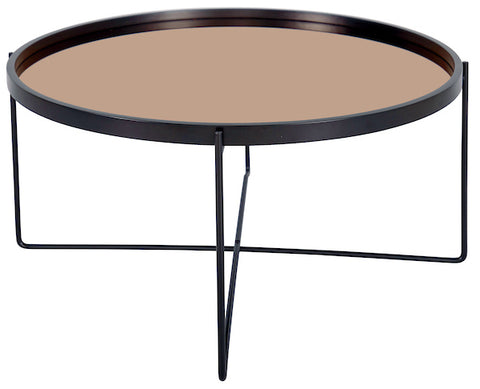 FUS0201 Samuel Large Round Side Table With Rose Gold Mirrored Top and Black Legs