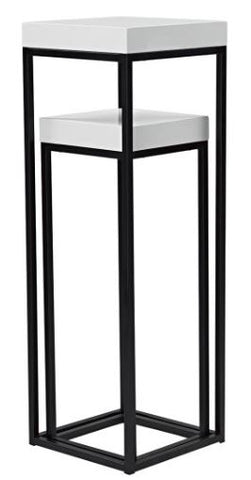 FUS0215 Nest Of 2 Plant Stands White Gloss Top