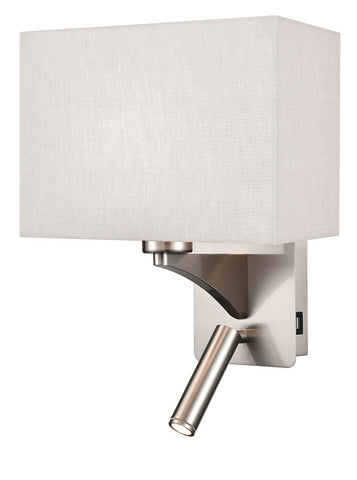 FLF0107-1  Wall Bracket With USB/LED Satin Nickel