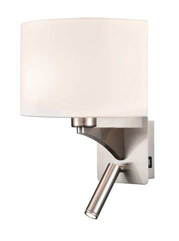 FLF0107-2  Wall Bracket With USB/LED Satin Nickel