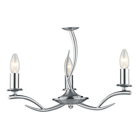 FLDA167-3 Tess 3 Light Pendant Satin Chrome