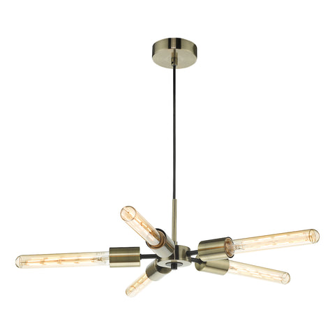 FLDA302-5AB  5 Light Pendant Antique Brass Matt Black
