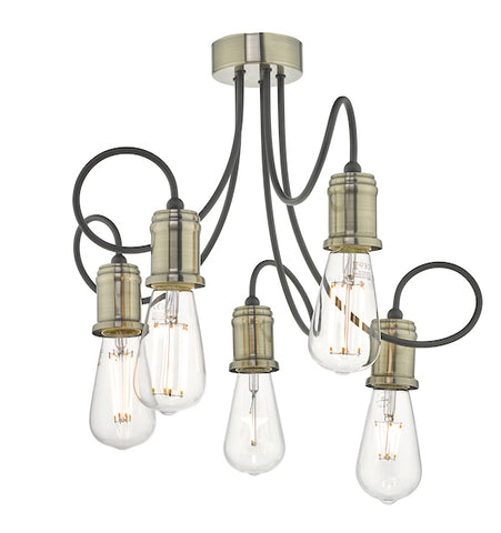 Dar Lighting ALZ5475 Alzbet 5lt Semi Flush Antique Brass & Black
