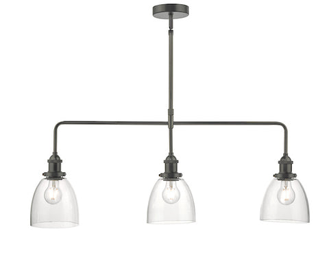 Dar Lighting ARV0361 Arvin 3lt Bar Pendant Antique Chrome & Glass