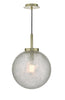 Dar Lighting AVA0141 Avari 1 Light Pendant Satin Brass And Clear Frosted Glass