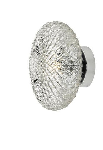 Dar Lighting BIB0708 Bibiana 1 Light Wall Light Polished Chrome with Clear Shade Small