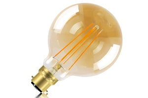 FUS0045 Vintage Gold Globe 95mm 5W (40W) 1800K 380lm B22 Dimmable Lamp
