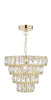 Dar Lighting CER0135 Cerys 1 Light 4 Tier Pendant Crystal & Gold