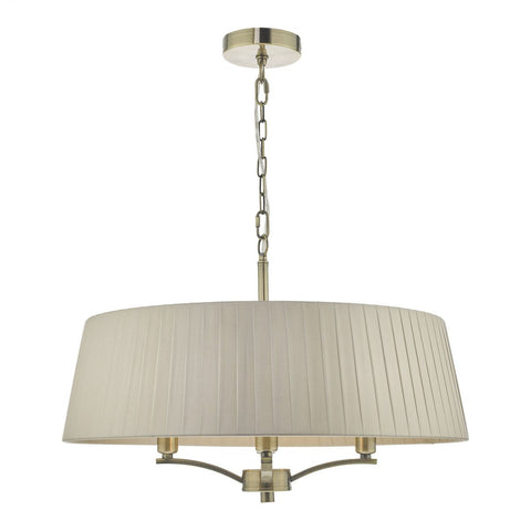 Dar Lighting CRI0429 Cristin 4 Light Pendant Antique Brass With Taupe Ribbon Shade
