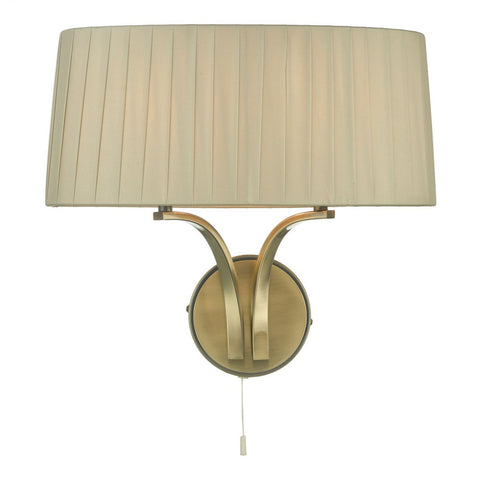 Dar Lighting CRI0929 Cristin 2 Light Wall Light Antique Brass With Taupe Shade