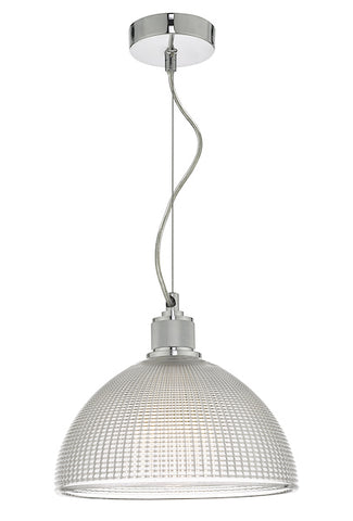 Dar Lighting CYT0108 Cytheria 1 Light Pendant Chrome And Clear Glass