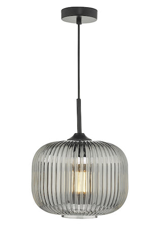 Dar Lighting DEM0110 Demarius 1 Light Pendant Black and Smoked Glass