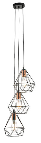 Dar Lighting DEY0322 Deyon 3lt Cluster Pendant Black & Copper