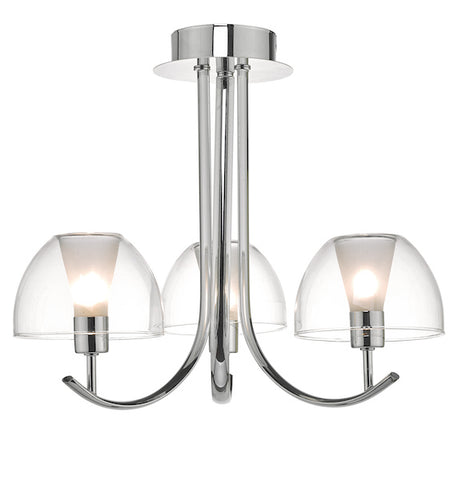 Dar Lighting DUA5350 Duana 3lt Semi Flush Polished Chrome & Glass