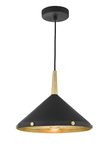 Dar Lighting EDE0154 Edena 1 Light Pendant Matt Black And Gold Leaf