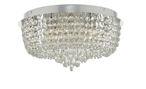 Dar Lighting EIT5008 Eitan 9 Light Beaded Flush Clear and Polished Chrome