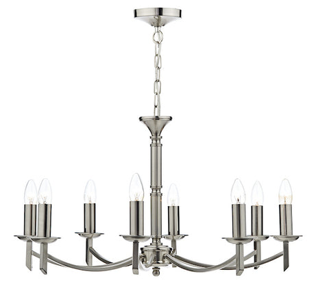 FLDA021-8SC Albert 8 Light Dual Mount Pendant Satin Chrome