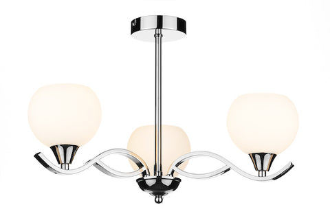FLDA036-3 Alex 3 Light Semi Flush Polished Chrome