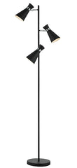 FLDA039-FL Alexander 3 Light Floor Lamp Matt Black & Polished Chrome