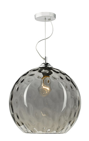 FLDA044 1 Light Pendant Silver Smoked Glass With Dimple Effect