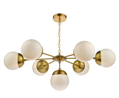 FLDA051 7 Light Pendant Natural Brass & White Opal Glass