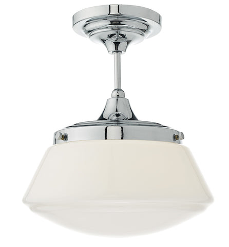 FLDA060 1lt Semi Flush Polished Chrome & Opal Glass IP44